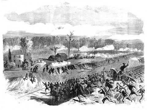 Charge of the 88th and 69th N.Y.V. (Irish Brigade) at the Battle of Seven Pines.