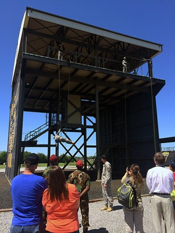 Spectators watch a rappelling demonstration at The Sabalauski Air Assault School, Fort Campbell, Ky., during the 2015 Day of the Eagles event July 30, 2015. (Maj. Paul Oliver, 1st Brigade Combat Team, 101st Airborne Division Public Affairs)