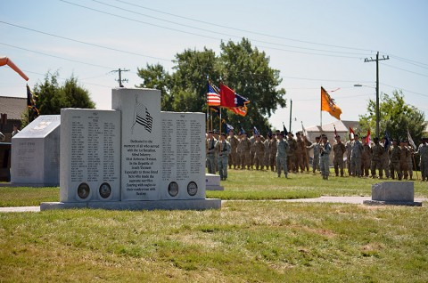 Soldiers from the 2nd Brigade Combat Team, 101st Airborne Division (Air Assault), stand in formation during a rededication ceremony officially moving the Strike memorials to their new home between Kentucky Ave. and Tennessee Ave. off Screaming Eagle Blvd. on Fort Campbell, Ky., July 30, 2015. (Staff Sgt. Sierra A. Fown, 2nd Brigade Combat Team, 101st Airborne Division Public Affairs)