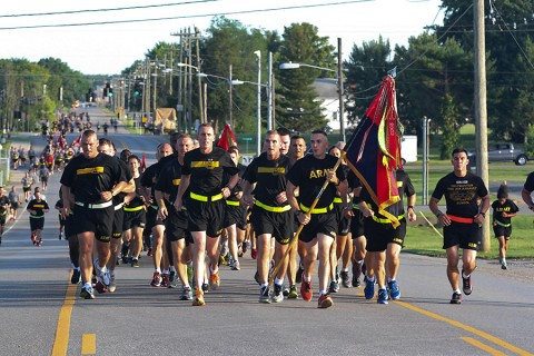Maj. Gen. Gary J. Volesky, the commanding general of the 101st Airborne Division (Air Assault) and Fort Campbell, and Command Sgt. Maj. Gregory F. Nowak, the division command sergeant major, lead a division run to start of the 101st's Day of the Eagles at Fort Campbell, Ky., July 30, 2015. Day of the Eagles is a tradition to honor past and present 101st Airborne Division Soldiers. (Staff Sgt. Candice Funchess, 101st Airborne Division Public Affairs)