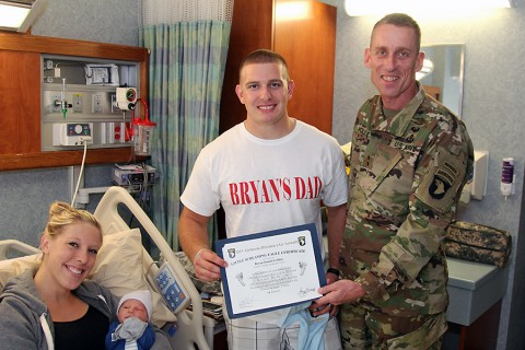 Sgt. Timothy and Brooke Collins are the proud parents of Fort Campbell's 101st Baby of the month.