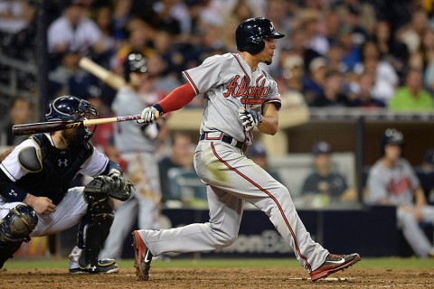 Atlanta Braves second baseman Jace Peterson (8) hits an RBI single during the ninth inning against the San Diego Padres at Petco Park. (Jake Roth-USA TODAY Sports)