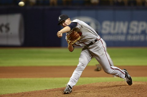 Atlanta Braves starting pitcher Matt Marksberry (66) throws a pitch during the seventh inning against the Tampa Bay Rays at Tropicana Field. (Kim Klement-USA TODAY Sports)