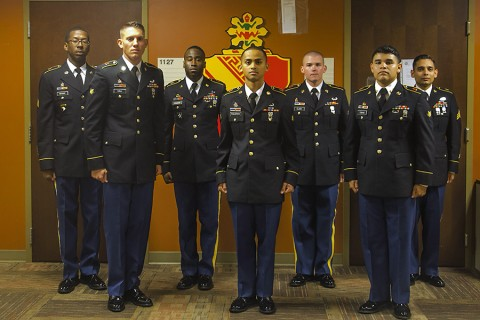 Soldiers with 2nd Battalion, 44th Air Defense Artillery, 101st Airborne Division (Air Assault) Sustainment Brigade, stand at attention for a photo after finishing the board, the last event in 2nd Battalion's Strike Fear Week competition, Aug. 13, 2015, at 2nd Battalion's headquarters Fort Campbell, Ky. Soldiers competed in Strike Fear Week to be named the battalion's Soldier and noncommissioned officer of the quarter. (Spc. Joseph Green, 101st Airborne Division (Air Assault) Sustainment Brigade Public Affairs)