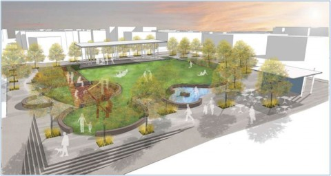 Downtown Clarksville Civic Park. (Rendering produced by Hodgson Douglas)