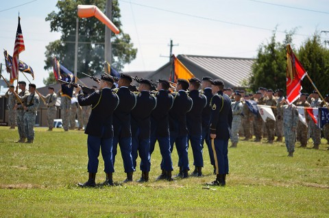 An honor guard rifle detail fires a 21-gun salute in honor of Spc. Matthew Walker during a wreath laying at the 2nd Brigade Combat Team, 101st Airborne Division's memorial rededication ceremony at Fort Campbell, Ky., July 30, 2015. Walker was the only Soldier killed in action during Strike's 2014 Operation Enduring Freedom deployment to Afghanistan. (Staff Sgt. Sierra A. Fown, 2nd Brigade Combat Team, 101st Airborne Division Public Affairs)