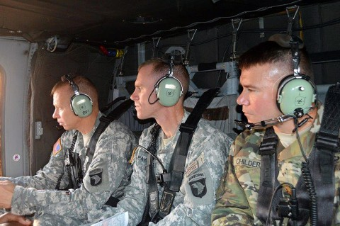 Leaders from 2nd Brigade Combat Team, 101st Airborne Division (Air Assault) go on a reconnaissance of the Fort Polk, La., training area during the Leaders Training Program Aug. 10, 2015. The Leadership Training Program is an eight day training event designed to enhance the brigade's ability to execute the military decision making process (MDMP) and conduct planning. (Maj. Ireka R. Sanders, 2nd Brigade Combat Team, 101st Airborne Division (Air Assault) Public Affairs)