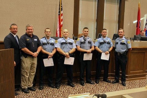 Montgomery County Sheriff's Deputies recognized for saving lives during Montgomery County Commission Meeting.