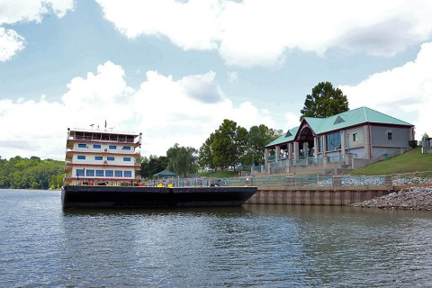 The Motor Vessel Mississippi is docked at McGregor Park in Clarksville, Tenn., Aug. 11, 2015, during a stop along the Cumberland River. (Mark Rankin, U.S. Army Corps of Engineers, Nashville District)