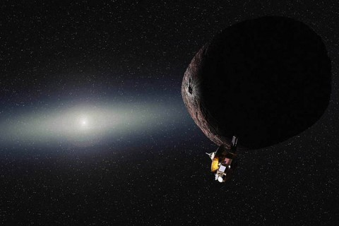 Artist's impression of NASA's New Horizons spacecraft encountering a Pluto-like object in the distant Kuiper Belt. (NASA/JHUAPL/SwRI/Alex Parker)