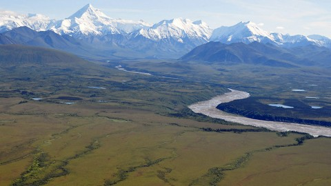 NASA's ABoVE campaign will combine field work, airborne surveys, satellite data and computer modeling to study the effects of climate change on Arctic and boreal ecosystems, such as this region at the base of the Alaska Range south of Fairbanks. (NASA/Ross Nelson)