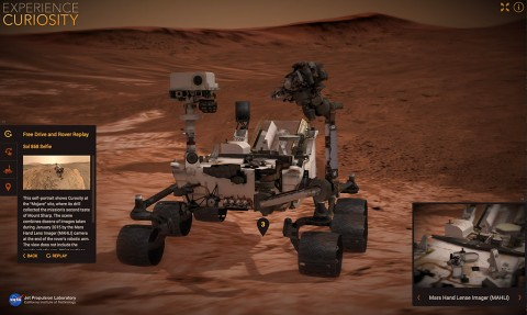 A screen capture from NASA's new Experience Curiosity website shows the rover in the process of taking its own self-portrait. (NASA/JPL-Caltech)