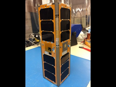 The Low Mass Radio Science Transponder-Satellite (LMRST-Sat) is about 4 by 4 by 12 inches (10 by 10 by 30 centimeters) in size and weighs as much as a kid's bowling ball (8 pounds or, 4 kilograms). The CubeSat is a collaboration between NASA's Jet Propulsion Laboratory in Pasadena, California, and Stanford University's Space and Systems Development Laboratory, Stanford, California. (NASA/JPL-Caltech)