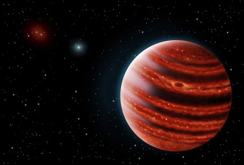 Artistic conception of the Jupiter-like exoplanet 51 Eridani b, with the hot layers deep in its atmosphere glowing through the clouds. Because of its young age, this cousin of our own Jupiter is still hot and carries information on the way it was formed 20 million years ago. (Danielle Futselaar and Franck Marchis, SETI Institute)