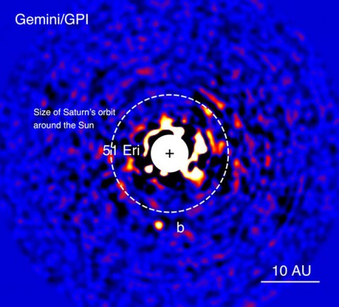 Discovery image of the exoplanet 51 Eridani b taken in the near-infrared light with the Gemini Planet Imager on Dec. 21, 2014. The bright central star has been mostly removed to enable the detection of the million-times fainter planet. (Gemini Observatory and J. Rameau (UdeM) and C. Marois NRC Herzberg)
