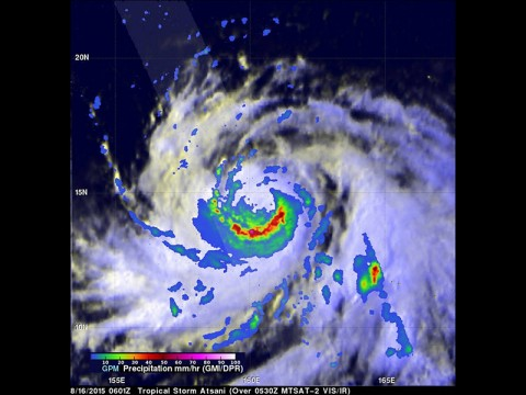 NASA-JAXA's GPM satellite saw rainfall south of the storm's center of circulation was falling at a rate of over 90 mm (3.5 inches) per hour and cloud tops to heights of 16.8 km (10.4 miles). (SSAI/NASA/JAXA, Hal Pierce)