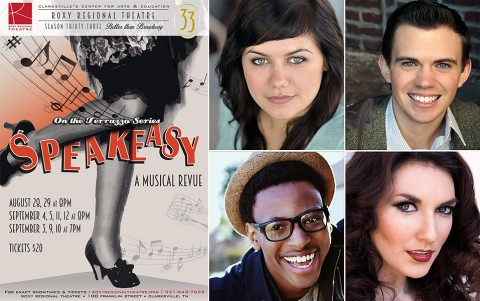 "Roxy Regional Theatre's produciton of ""Speakeasy"" stars (Top L to R) Kelley Barker, Ryan Bowie, Michael Jemison and Rori Nogee."