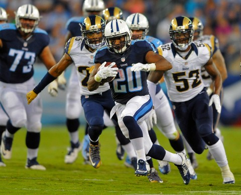 Tennessee Titans running back Bishop Sankey (20) runs for a first down during the first half against the St. Louis Rams at Nissan Stadium. (Christopher Hanewinckel-USA TODAY Sports)