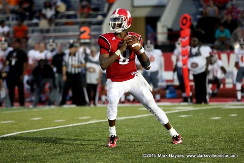 Austin Peay Football quarterback Trey Taylor throws for 208 yards, 2 touchdowns and rushes for 70 yards in loss to Tennessee Tech Saturday. (APSU Sports Information)