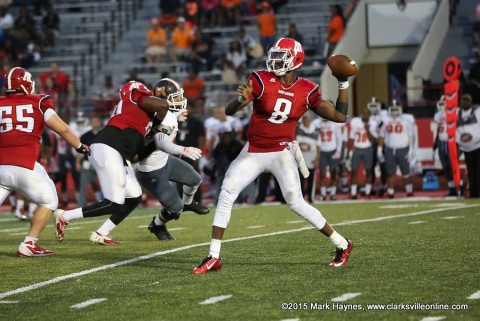 APSU quarterback Trey Taylor was 22 of 32 for 188 yards, one touchdown and one interception against Mercer.