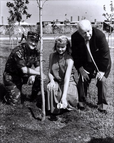 Retired 2nd Brigade Combat Team commander Col. Burton Patrick, Janice Nikkel and Frank Lockyear plant a tree to commemorate a life lost during the tragic Gander crash that occurred in 1985. The crash killed 248 Soldiers from the 2nd Brigade Combat Team, 101st Airborne Division that were en route to Fort Campbell from Gander, Newfoundland, Canada, following a peacekeeping mission in Egypt. (Courtesy photo)