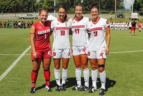 Austin Peay Soccer recognized seniors (L to R) Nikki Filippone, Courtney Sheppard, Taylor Van Wagner, and Shelby Olszewski on Senior Day. (APSU Sports Information)