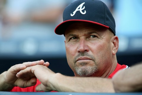 Atlanta Braves manager Fredi Gonzalez (33) looks on from the dugout prior to the game against the   Arizona Diamondbacks at Turner Field. (Jason Getz-USA TODAY Sports)