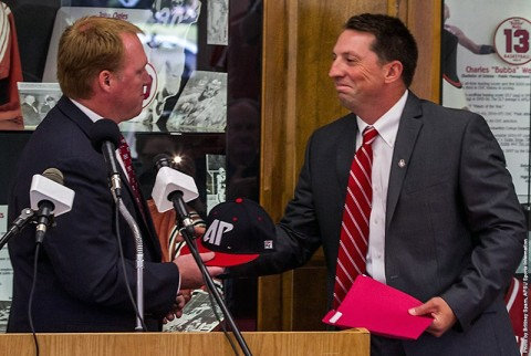 Austin Peay Athletics Director Ryan Ivey and the new head baseball coach Travis Janssen. (APSU Sports Information)