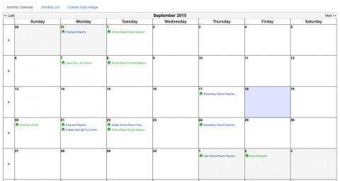 The New CMCSS Online Events Calendar.