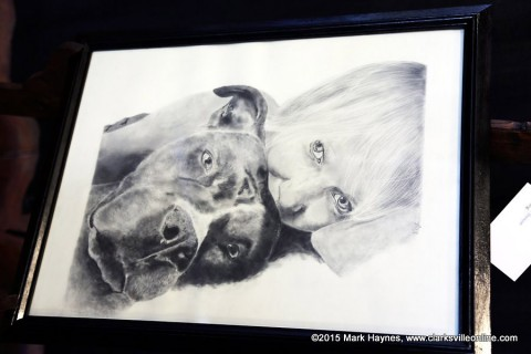 "Victoria York won first place for her drawing ""Deborah"" at Clarkville's Riverfest Art Experience Thursday night."