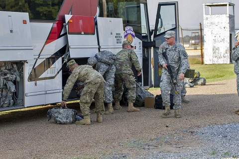 Soldiers from 2nd Brigade Combat Team, 101st Airborne Division arrive at Fort Polk, LA. Strike Brigade will participate in a 30-day training exercise at Joint Readiness Training Center. (U.S. Army Staff Sgt. Terrance D. Rhodes, 2nd Brigade Combat Team, 101st Airborne Division (Air Assault) Public Affairs)