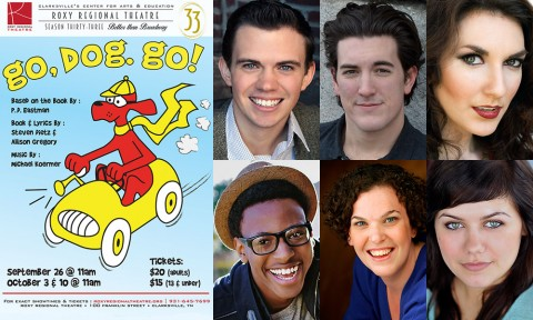 """Go, Dog. Go!"" at the Roxy stars (Top L to R) Ryan Bowie, Timothy Houston, Rori Nogee, Michael Jemison, Jackie Ostick and Kelley Barker."