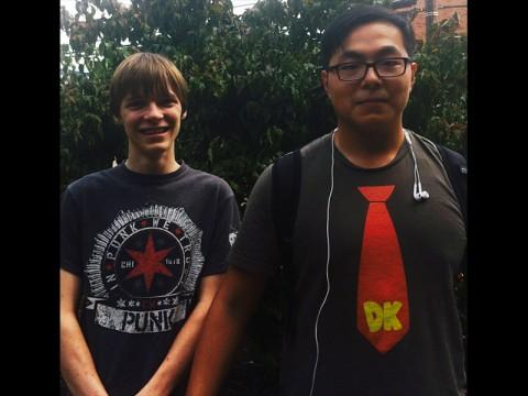 Essay winners, Kalven Hammer and Alvin Gao.