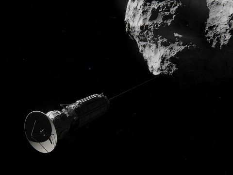 This artist concept shows Comet Hitchhiker, an idea for traveling between asteroids and comets using a harpoon and tether system. (NASA/JPL-Caltech/Cornelius Dammrich)