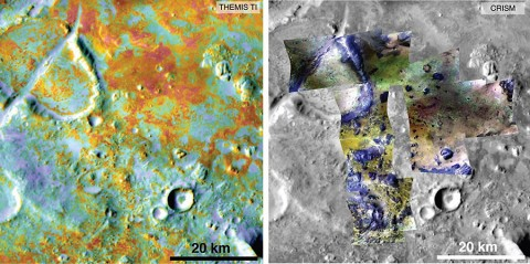 Researchers estimating the amount of carbon held in the ground at the largest known carbonate deposit on Mars used data from five instruments on three NASA Mars orbiters, including physical properties from THEMIS (left) and mineral information from CRISM (right). (NASA/JPL-Caltech/ASU/JHUAPL)