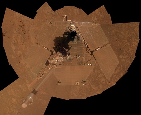 A dust storm on Mars in 2008 temporarily cuts the amount of sunlight reaching the solar array on NASA's Mars Exploration Rover Spirit, leaving the rover in a vulnerable state. (NASA/JPL-Caltech/Cornell)