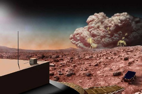 This artists concept illustrates a Martian dust storm, which might also crackle with electricity. (NASA)