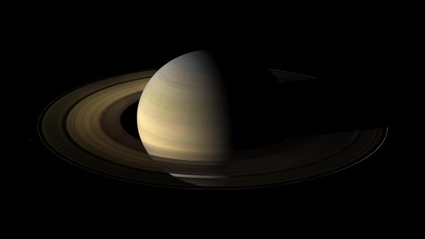 The planet Saturn, viewed by NASA's Cassini spacecraft during its 2009 equinox. Data on how the rings cooled during this time provide insights about the nature of the ring particles. (NASA/JPL/Space Science Institute)