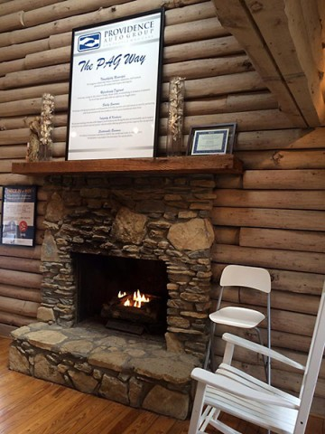 Providence Auto Group Fireplace and Core Values.