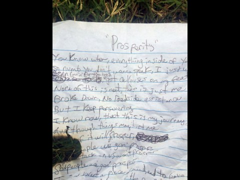 Writing left at the camp of a young man expressing hunger and need.