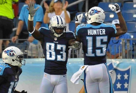 Tennessee Titans wide receiver Harry Douglas (83) celebrates scoring a touchdown against the Minnesota Vikings with wide receiver Justin Hunter (15) during the first half at Nissan Stadium. (Jim Brown-USA TODAY Sports)