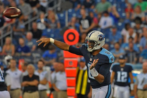 Tennessee Titans quarterback Marcus Mariota (8) passes against the Minnesota Vikings during the first half at Nissan Stadium. (Jim Brown-USA TODAY Sports)