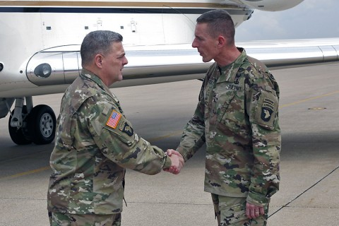 Gen. Mark A. Milley, the 39th chief of staff of the Army, shakes hands with Maj. Gen. Gary J. Volesky, the commanding general of the 101st Airborne Division (Air Assault) and Fort Campbell, after arriving to Fort Campbell, Sept. 11, 2015, for a brief luncheon with senior leaders. Milley focused on his number one priority – readiness of the force. (Sgt. 1st Class Nathan Hoskins, 101st Airborne Division (Air Assault) Public Affairs)