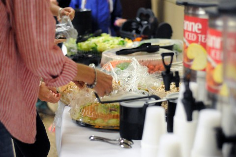 """A healthy lunch is served during the """"spark your inner fire"""" workshop at the Family Resource Center, Sept. 30, 2015. (U.S. Army Staff Sgt. Sierra A. Fown, 2nd Brigade Combat Team, 101st Airborne Division (Air Assault) Public Affairs)"""