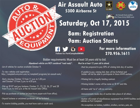 Fort Campbell Abandoned Vehicle and MWR Equipment Open Bid Auction
