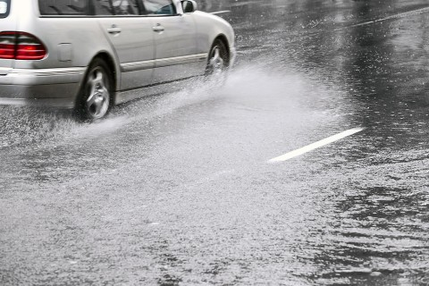Be Cautious on Water Covered Streets.