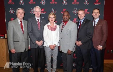2015 Alumni Award winners Fred Landiss, Mike O'Malley, Maggie Kulback, Dr. Joe Greer, Chad Kimmel and Michael Wall.