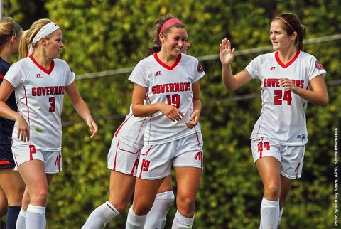 Austin Peay Women's Soccer gets 3-1 win against UT Martin at Morgan Brothers Soccer Field Sunday afternoon. (APSU Sports Information)