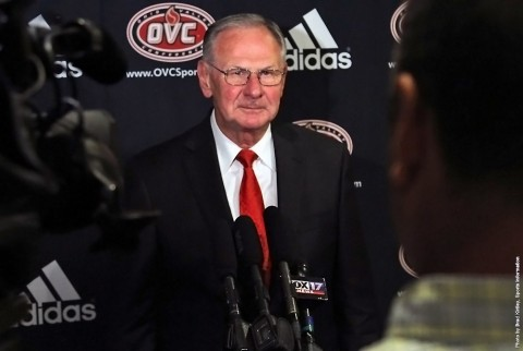 Austin Peay head coach Dave Loos at OVC Basketball Media Day, Tuesday. (APSU Sports Information)