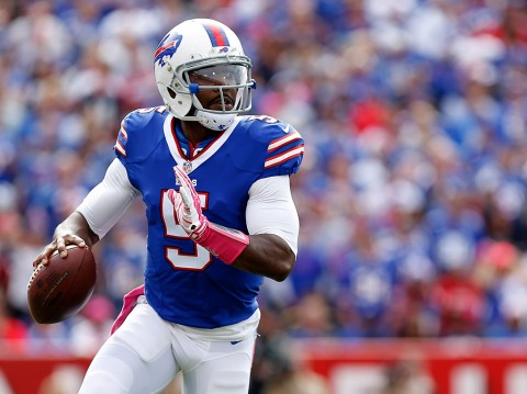 Buffalo Bills quarterback Tyrod Taylor (5) during the game against the New York Giants at Ralph Wilson Stadium. (Kevin Hoffman-USA TODAY Sports)